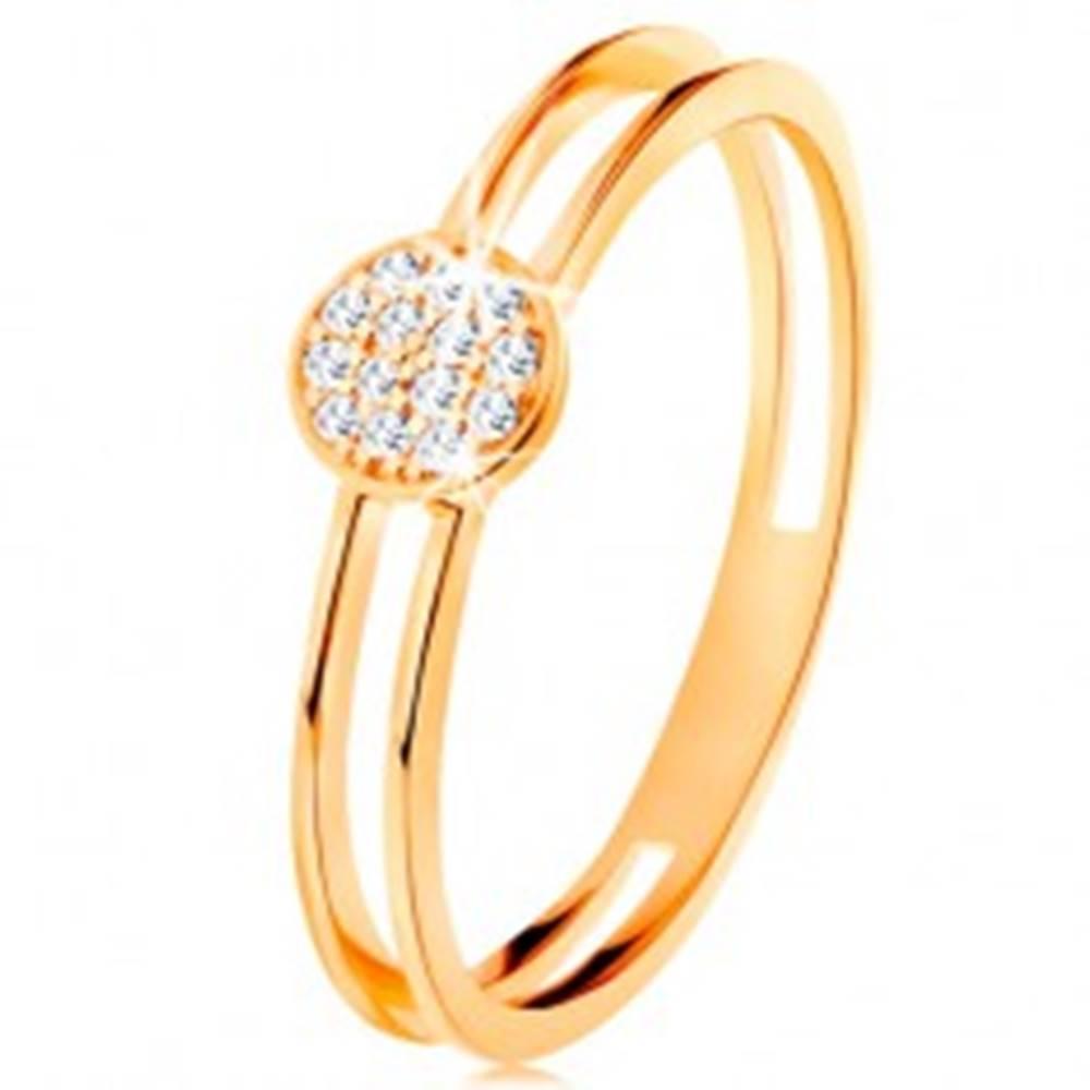 Šperky eshop Prsteň v žltom zlate 585, tenké zdvojené ramená, kruh s čírymi zirkónmi - Veľkosť: 49 mm