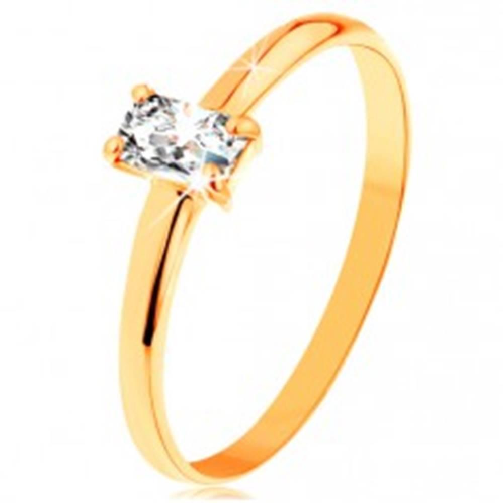 Šperky eshop Prsteň zo žltého zlata 585 - vystupujúci zirkónový obdĺžnik, hladké ramená - Veľkosť: 49 mm