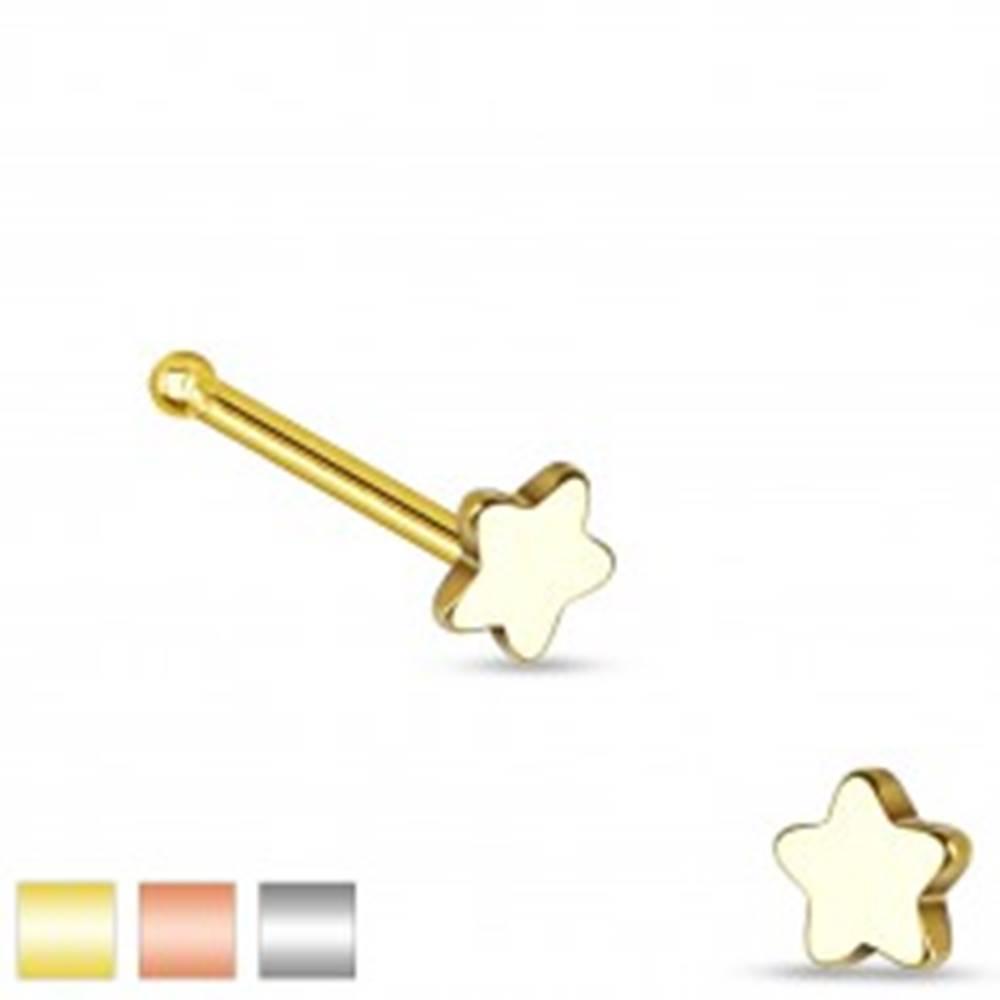 Šperky eshop Rovný piercing do nosa z ocele 316L, malá päťcípa hviezdička - Farba piercing: Medená