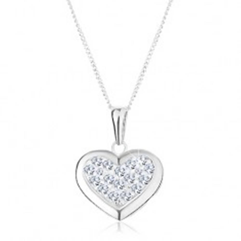 Šperky eshop Strieborný 925 náhrdelník, prívesok na retiazke, súmerné srdce zdobené zirkónmi