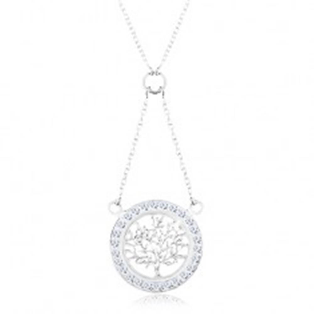 Šperky eshop Strieborný 925 náhrdelník, retiazka a prívesok - strom života so zirkónovou obrubou