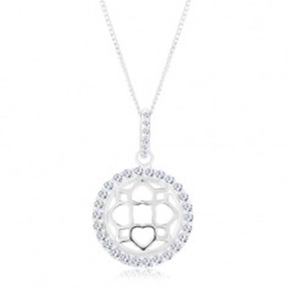 Šperky eshop Strieborný 925 náhrdelník, retiazka a prívesok, trblietavý kruh, vypuklý ornament