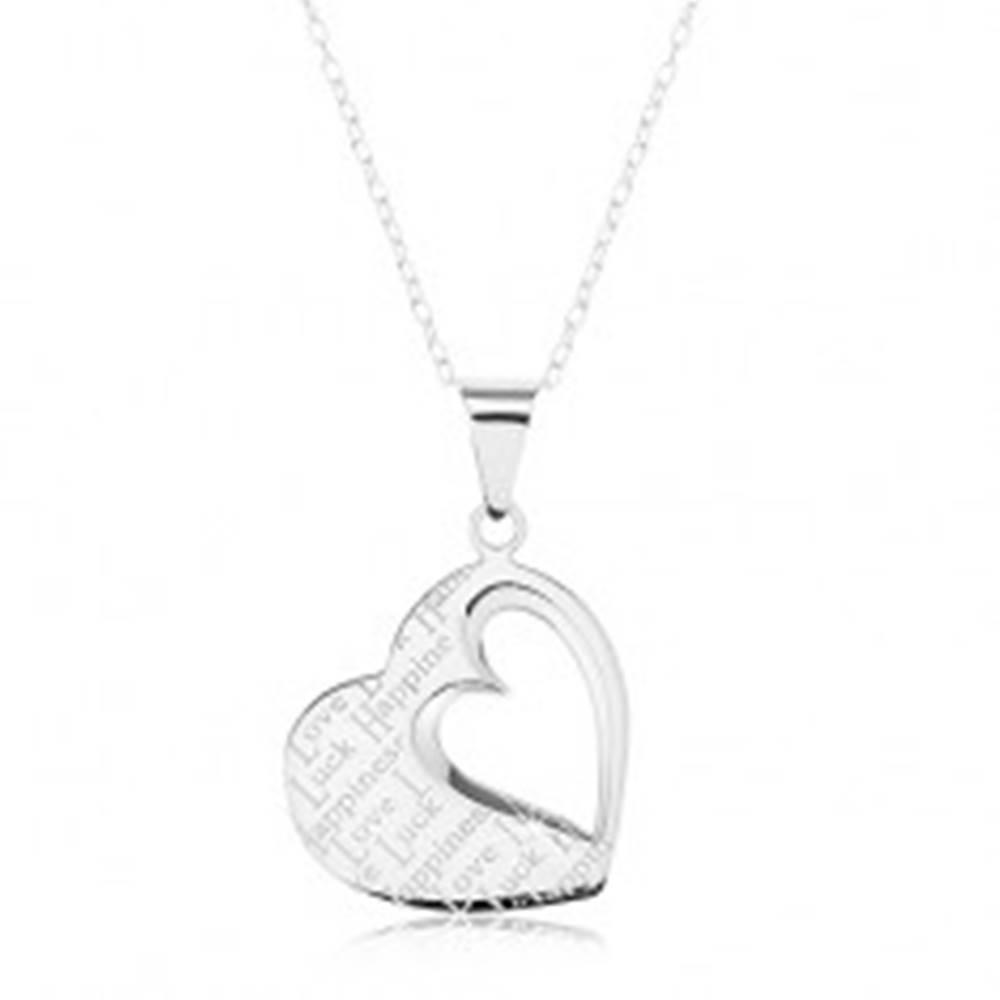 Šperky eshop Strieborný náhrdelník 925, prívesok - ploché srdce s výrezom a nápismi