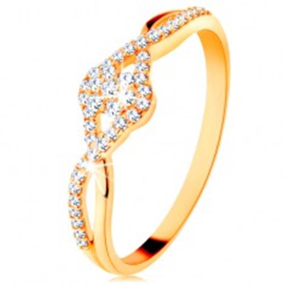 Šperky eshop Zlatý prsteň 585 - prepletené rozdvojené ramená, číry zirkónový kvietok - Veľkosť: 49 mm
