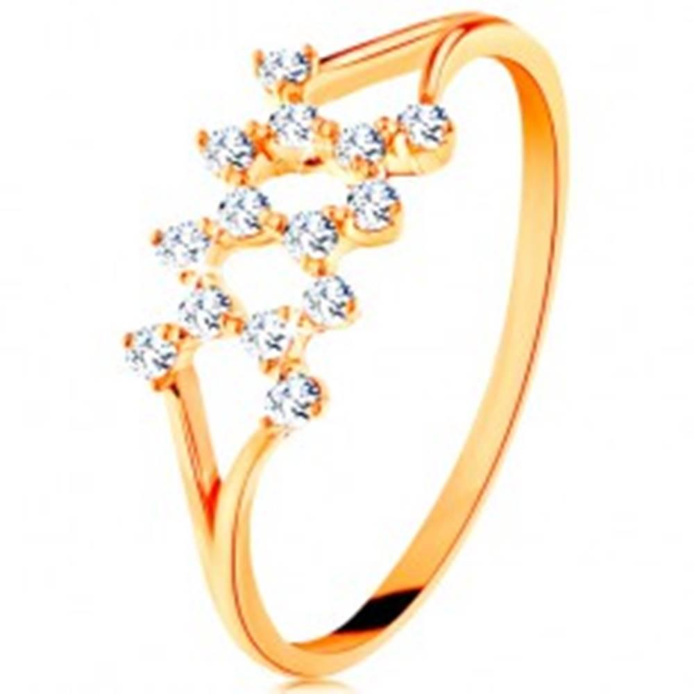Šperky eshop Zlatý prsteň 585 - rozdelené zahnuté ramená, cik-cak vzor zo zirkónov - Veľkosť: 49 mm