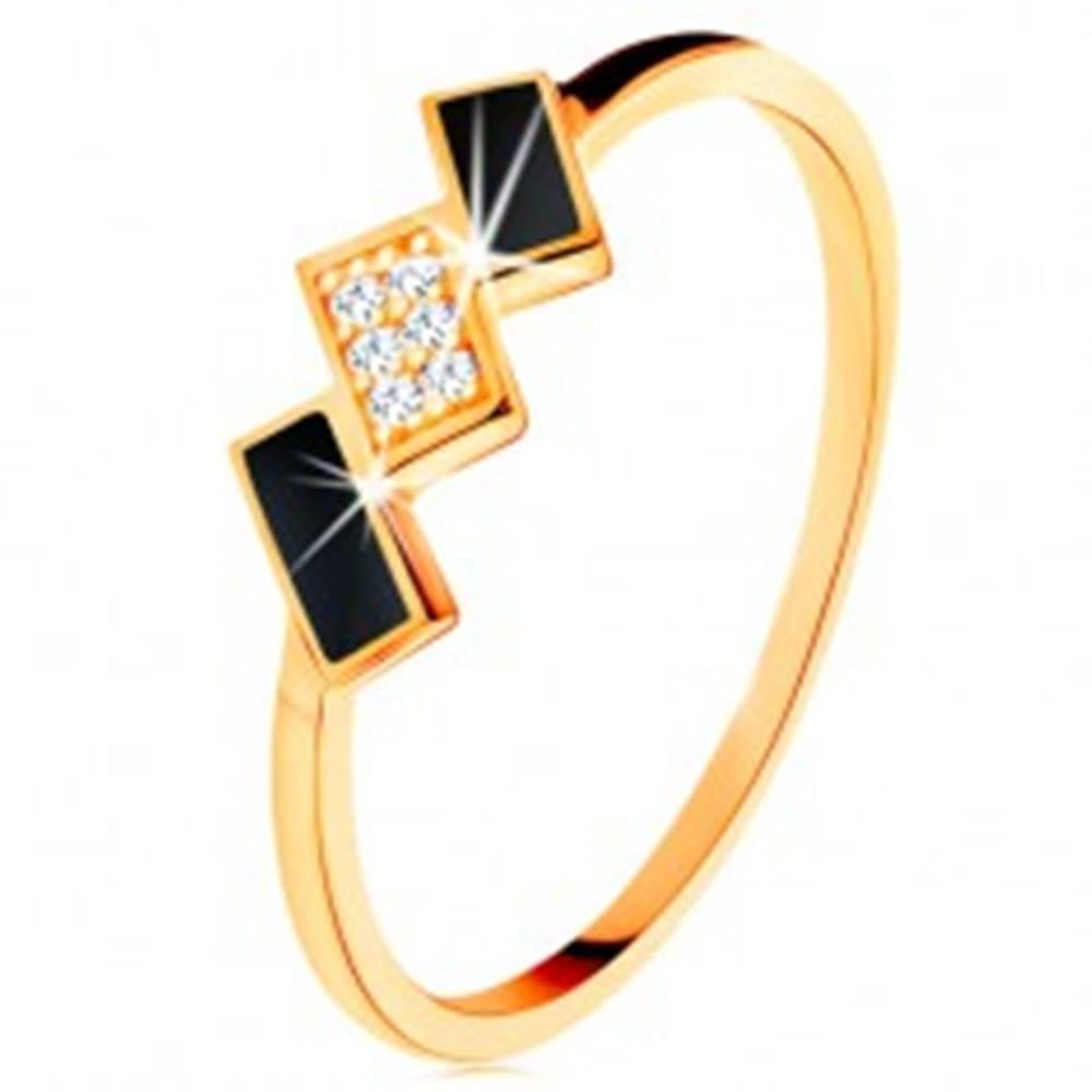 Šperky eshop Zlatý prsteň 585 - šikmé obdĺžniky zdobené čiernou glazúrou a zirkónmi - Veľkosť: 49 mm