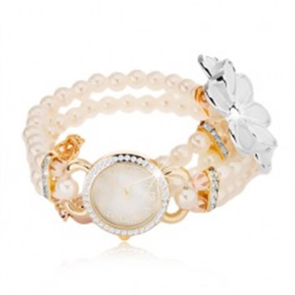 Šperky eshop Analógové hodinky, korálkový biely náramok, ciferník so zirkónmi, biely kvet