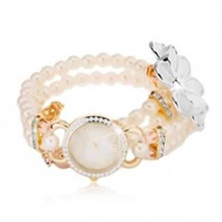 Analógové hodinky, korálkový biely náramok, ciferník so zirkónmi, biely kvet