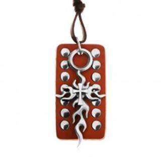 Kožený náhrdelník, nastaviteľný - hnedá vybíjaná známka, Tribal kríž