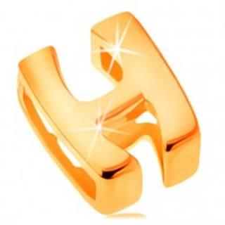 Lesklý prívesok v žltom 14K zlate, tlačené písmeno H, hladký povrch