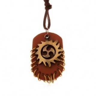 Náhrdelník zo syntetickej kože, prívesky - Tribal kruh a hnedý ovál s krúžkami