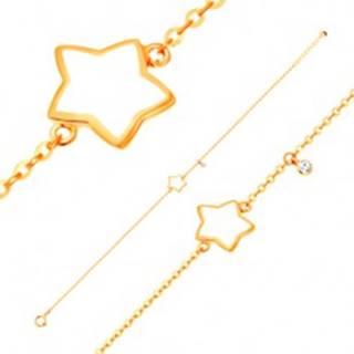 Náramok v žltom 14K zlate, prívesky - hviezda s bielou glazúrou, zirkón