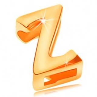 Prívesok zo žltého 14K zlata, tlačené písmeno Z, zrkadlovolesklé