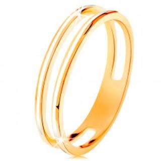 Prsteň v žltom zlate 585, dve úzke obruče zdobené bielou glazúrou - Veľkosť: 48 mm