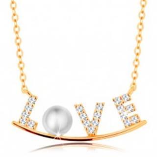 Zlatý náhrdelník 585 - zirkónový nápis LOVE na lesklom oblúku, biela perla
