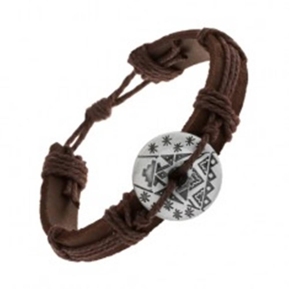 Šperky eshop Hnedý náramok zo syntetickej kože a šnúrok, kruh s výrezom a vzormi