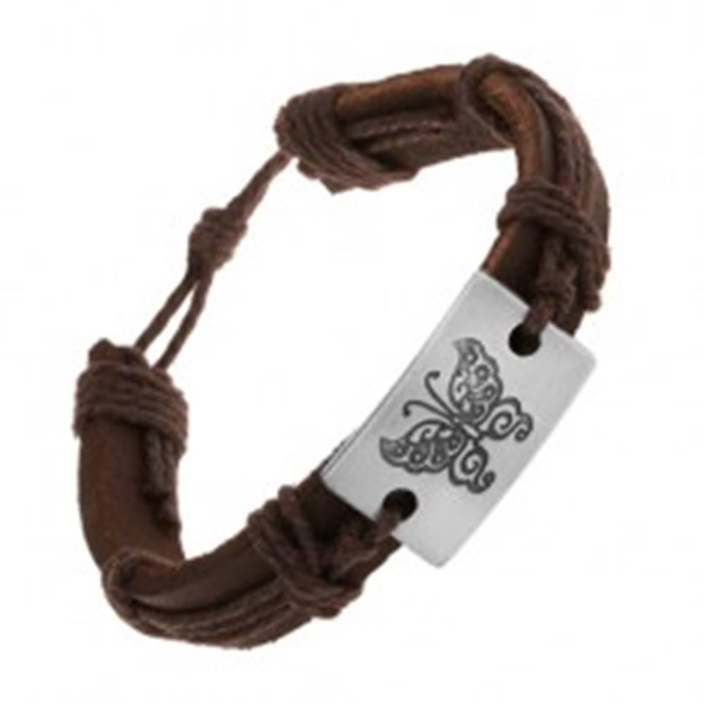 Šperky eshop Hnedý náramok zo syntetickej kože a šnúrok, veľký obdĺžnik s motýľom