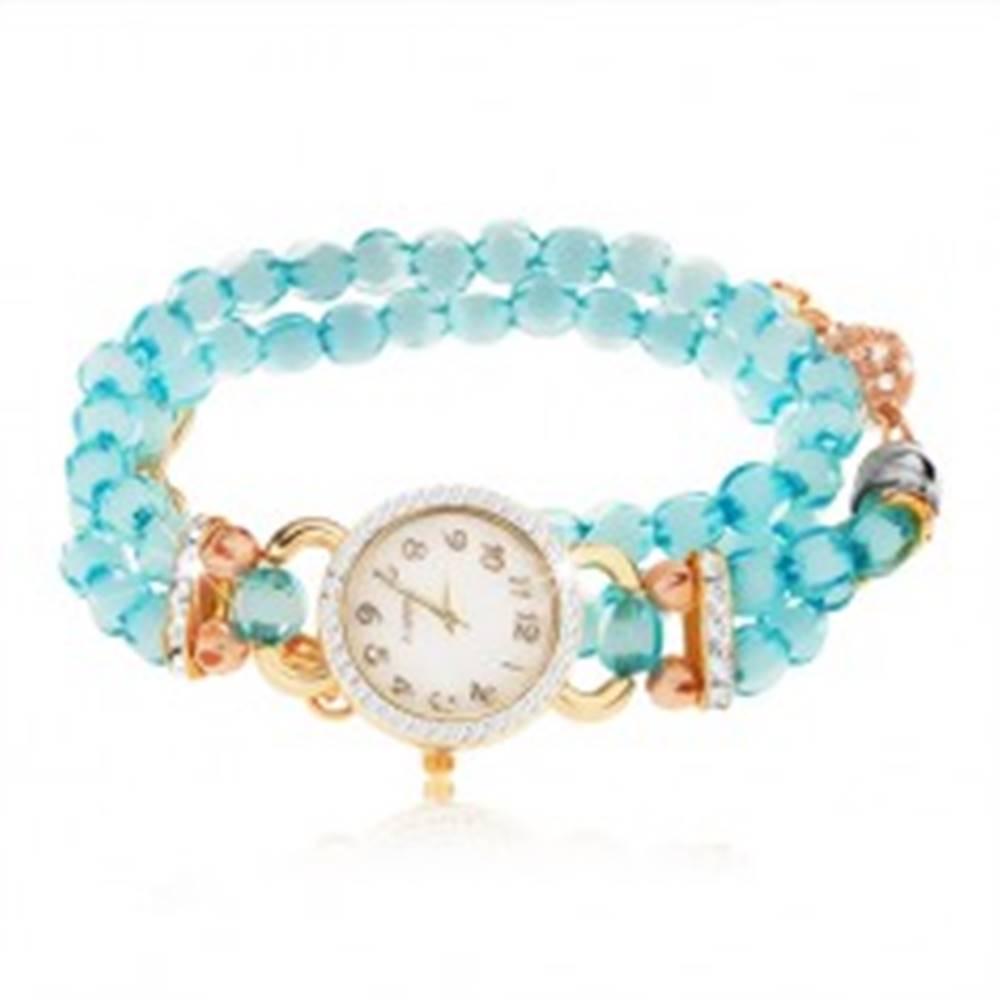 Šperky eshop Hodinky s náramkom z priehľadných modrých korálok, ciferník so zirkónmi