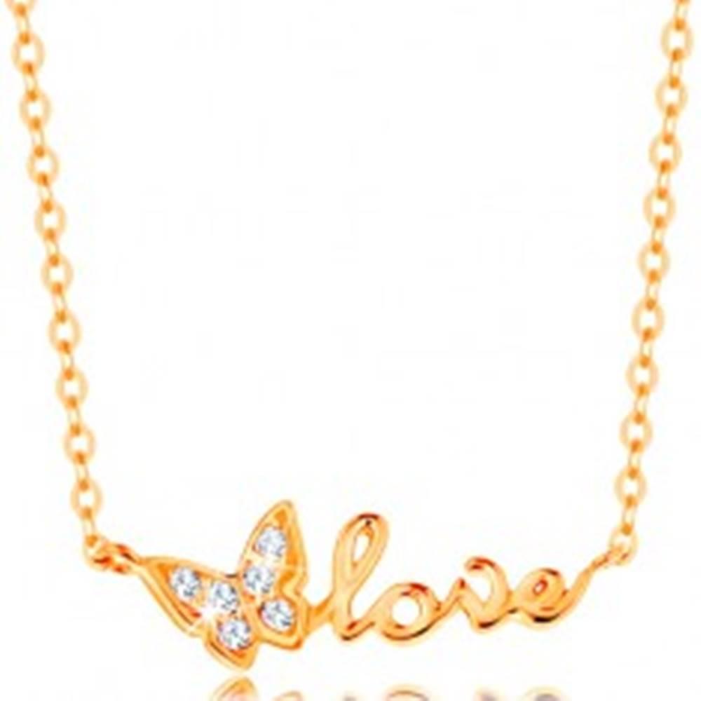 Šperky eshop Ligotavý zlatý náhrdelník 585 - retiazka z oválnych očiek, motýlik a nápis love