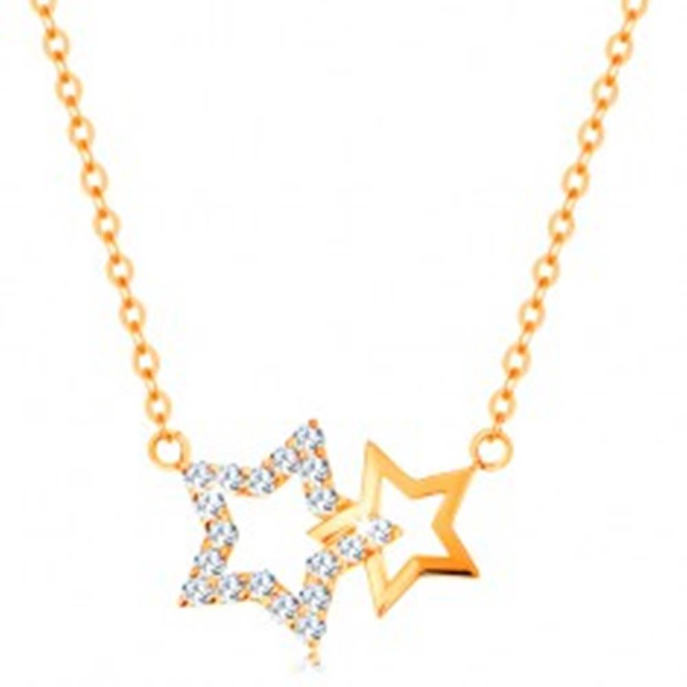 Šperky eshop Náhrdelník zo žltého 14K zlata - dve kontúry hviezdičiek, jemná retiazka