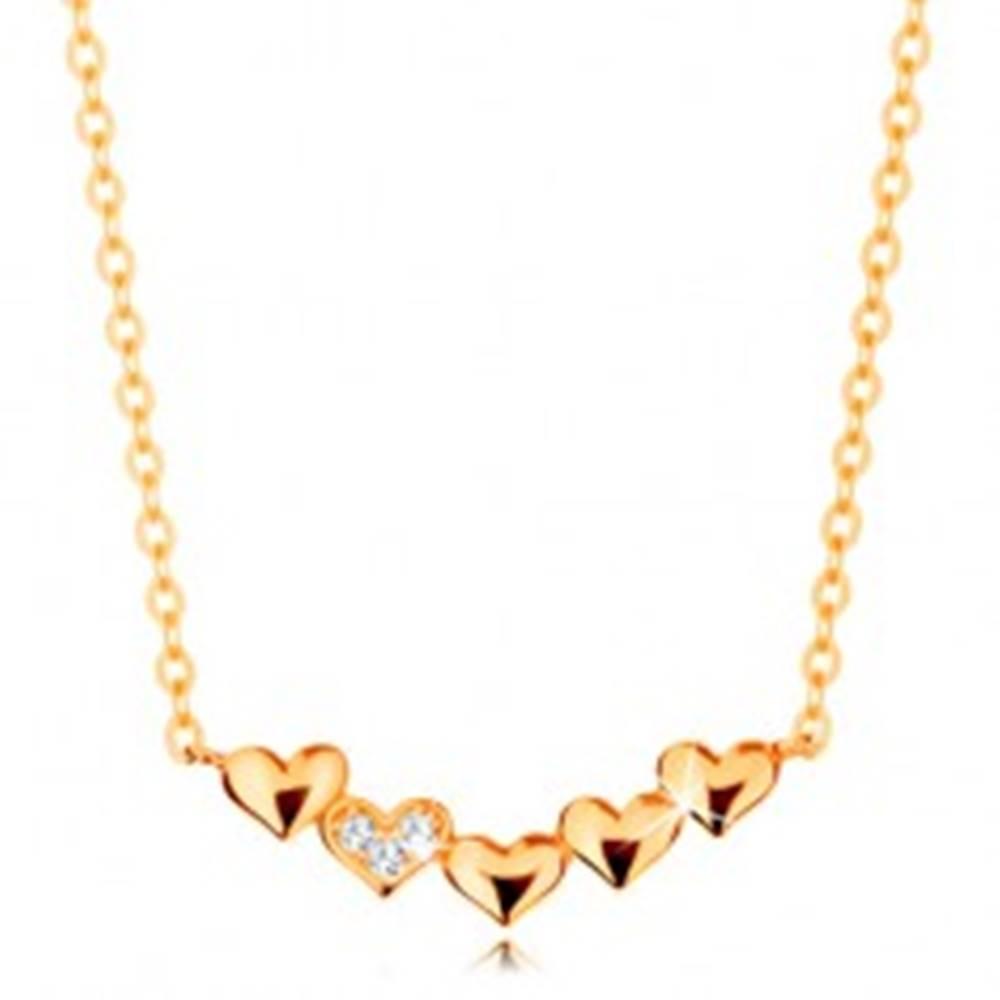 Šperky eshop Náhrdelník zo žltého 14K zlata - malé ligotavé srdiečka, číre zirkóniky