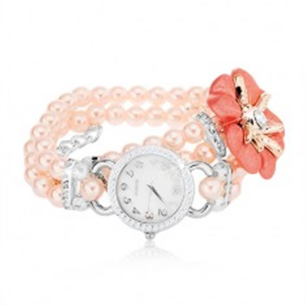 Šperky eshop Náramkové hodinky, ciferník so zirkónmi, korálkový ružový náramok, kvet