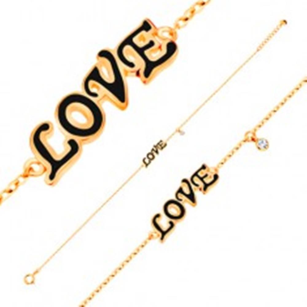 Šperky eshop Náramok v žltom 14K zlate, prívesky - čierny glazúrovaný nápis LOVE, zirkón
