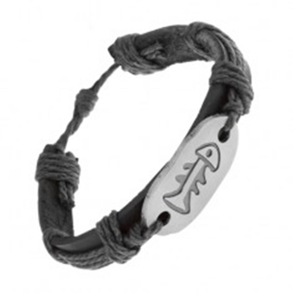 Šperky eshop Náramok z čiernej umelej kože a šnúrok, oceľová známka, rybia kosť