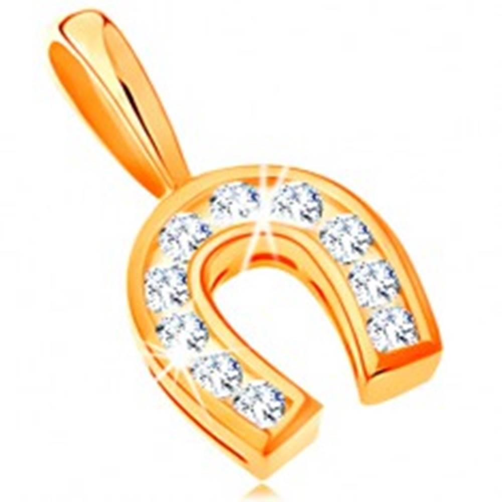 Šperky eshop Prívesok v žltom 14K zlate - podkovička pre šťastie vykladaná čírymi zirkónikmi