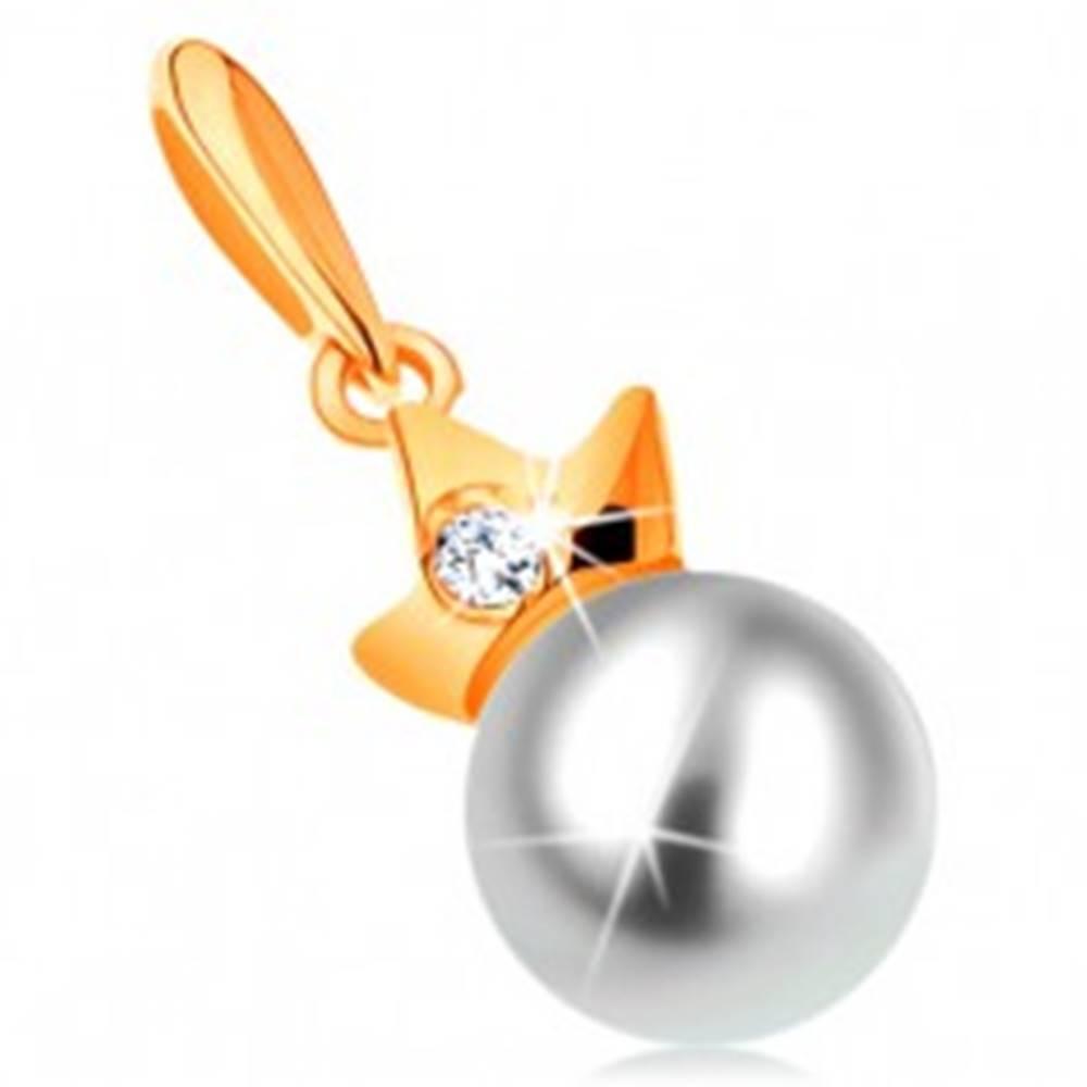 Šperky eshop Prívesok zo žltého 14K zlata - guľatá biela perla s trojcípou korunkou