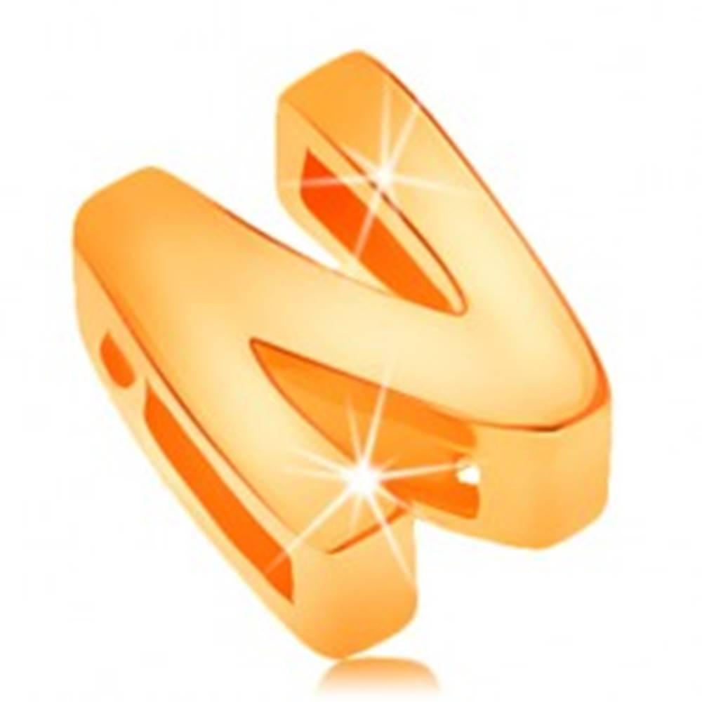 Šperky eshop Prívesok zo žltého 14K zlata, tlačené písmeno N, zrkadlovolesklé