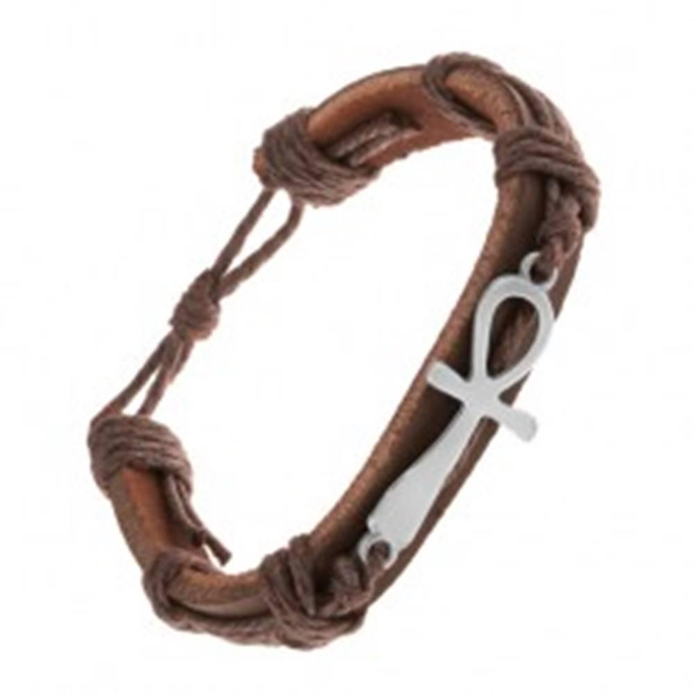 Šperky eshop Tmavohnedý kožený náramok so šnúrkami, nílsky kríž striebornej farby