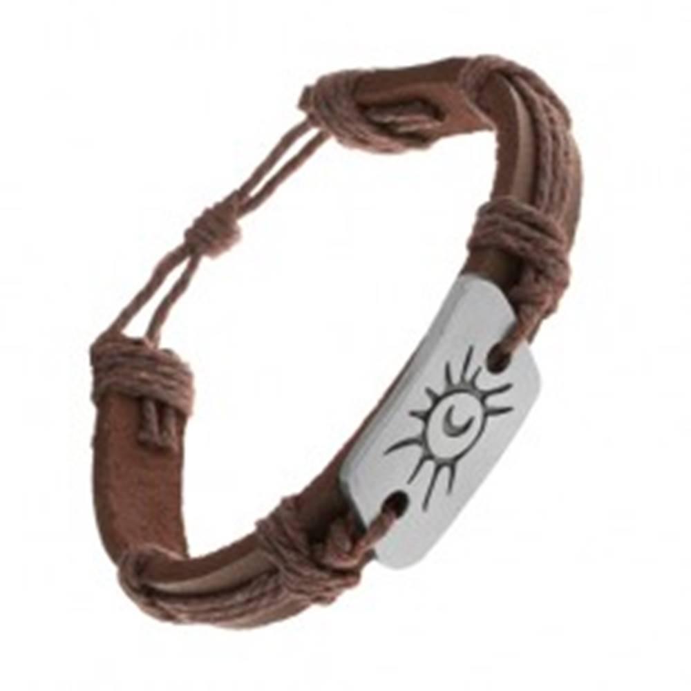 Šperky eshop Tmavohnedý náramok zo syntetickej kože a šnúrok, oceľová známka, slnko a mesiac