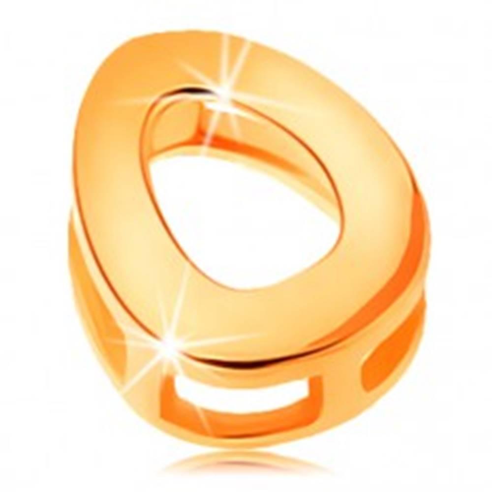 Šperky eshop Zlatý prívesok 585 - lesklý a hladký povrch, tlačené veľké písmeno O
