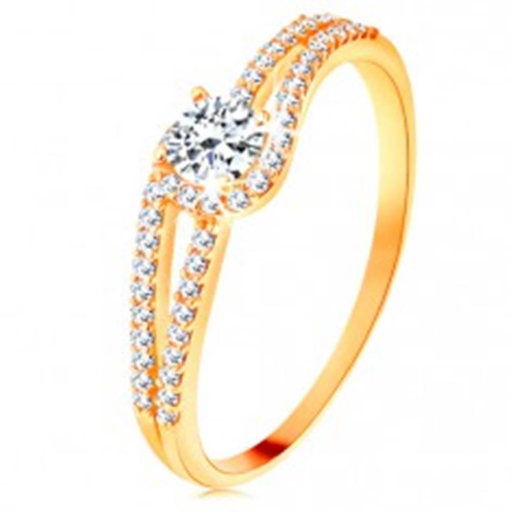 Šperky eshop Zlatý prsteň 585 s rozdelenými trblietavými ramenami, číry zirkón - Veľkosť: 49 mm