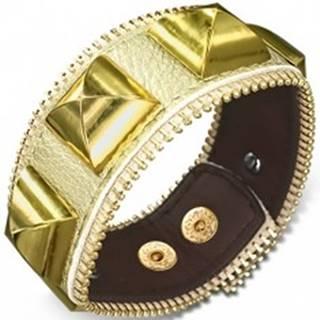 Mohutný kožený náramok - s pyramídami zlatej farby, zips