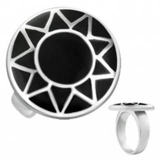 Oceľový prsteň s obrysom slnka striebornej farby v čiernom kruhu - Veľkosť: 57 mm