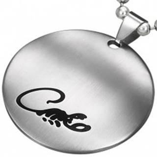 Okrúhly prívesok z chirurgickej ocele striebornej farby s čirnym škorpiónom