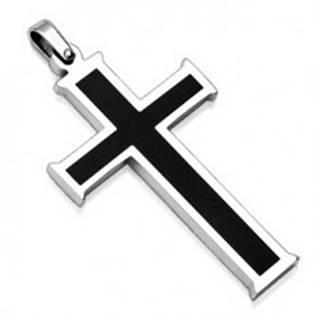 Prívesok z chirurgickej ocele - kríž s čiernym stredom