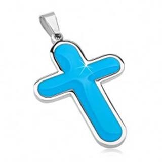 Prívesok z chirurgickej ocele, veľký kríž s modrým glazúrovaným vnútrom