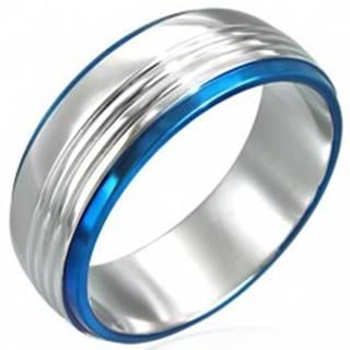 Prsteň z chirurgickej ocele s dvoma modrými pruhmi - Veľkosť: 50 mm