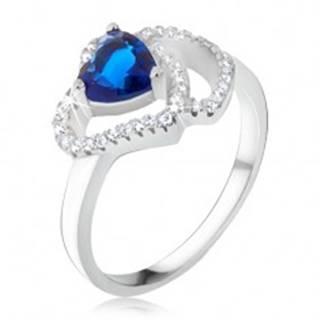 Prsteň zo striebra 925, modrý srdiečkový kameň, zirkónové obrysy sŕdc - Veľkosť: 48 mm