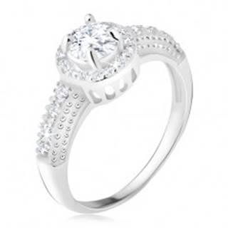 Strieborný 925 prsteň, číry zirkón s lemom, zirkónové ramená - Veľkosť: 48 mm