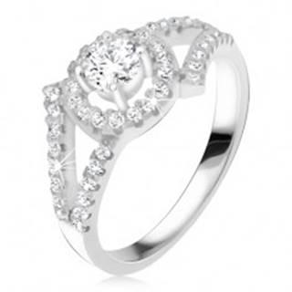 Strieborný 925 prsteň, rozvetvené ramená, okrúhly kameň s lemom - Veľkosť: 47 mm