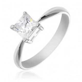 Zásnubný prsteň zo striebra 925 - štvorcový zirkón v objímke - Veľkosť: 49 mm