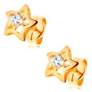 Zlaté 14K náušnice - ligotavé hviezdičky s čírym zirkónom v strede