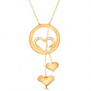 Zlatý náhrdelník 585 - kontúra srdca v obruči a dve visiace srdiečka na retiazkach