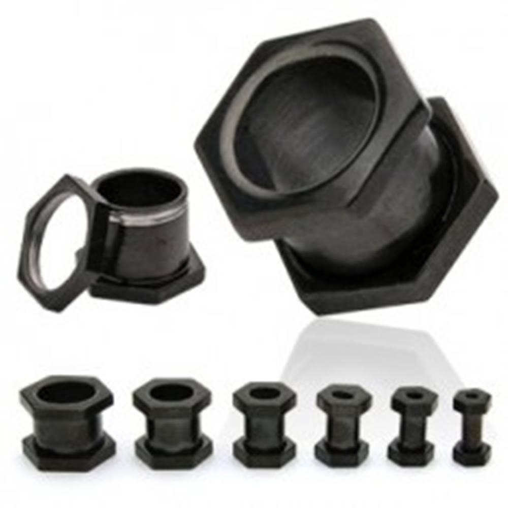 Šperky eshop Čierny oceľový tunel do ucha, šesťuholníkový, šrubovací - Hrúbka: 10 mm