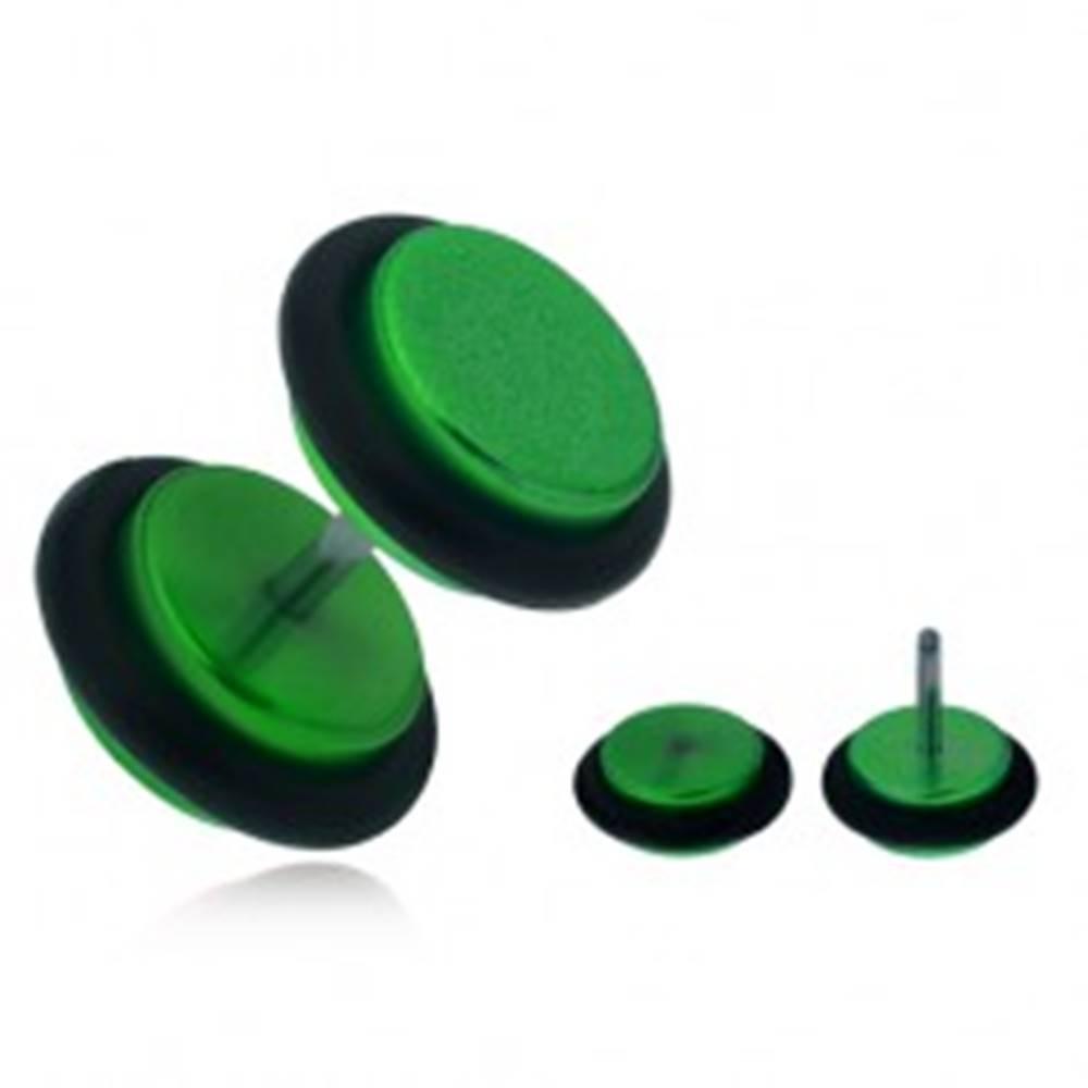 Šperky eshop Falošný plug do ucha, lesklé zelené akrylové kolieska