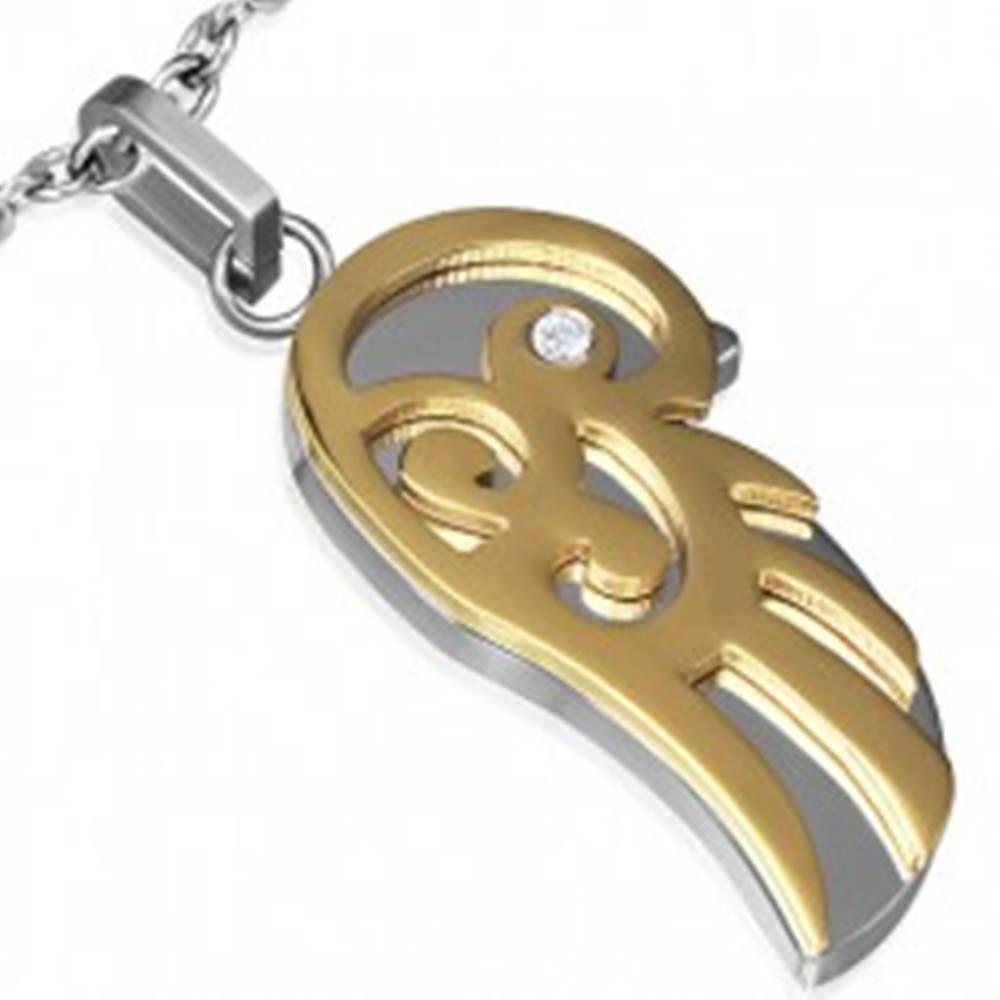 Šperky eshop Lesklý prívesok z ocele - krídlo zlato-striebornej farby s čírym zirkónom